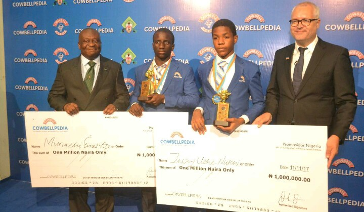 Double Champion!…Munachi Eze Becomes 1st Student To Win The Junior & Senior Categories Of Cowbellpedia!