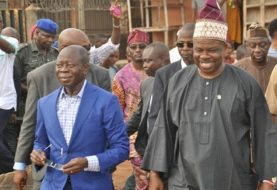 "Full Of Smiles Amosun Says ""I Don't Need To Hide Under A Finger To Fight"" On Oshiomhole's Trouble With DSS"